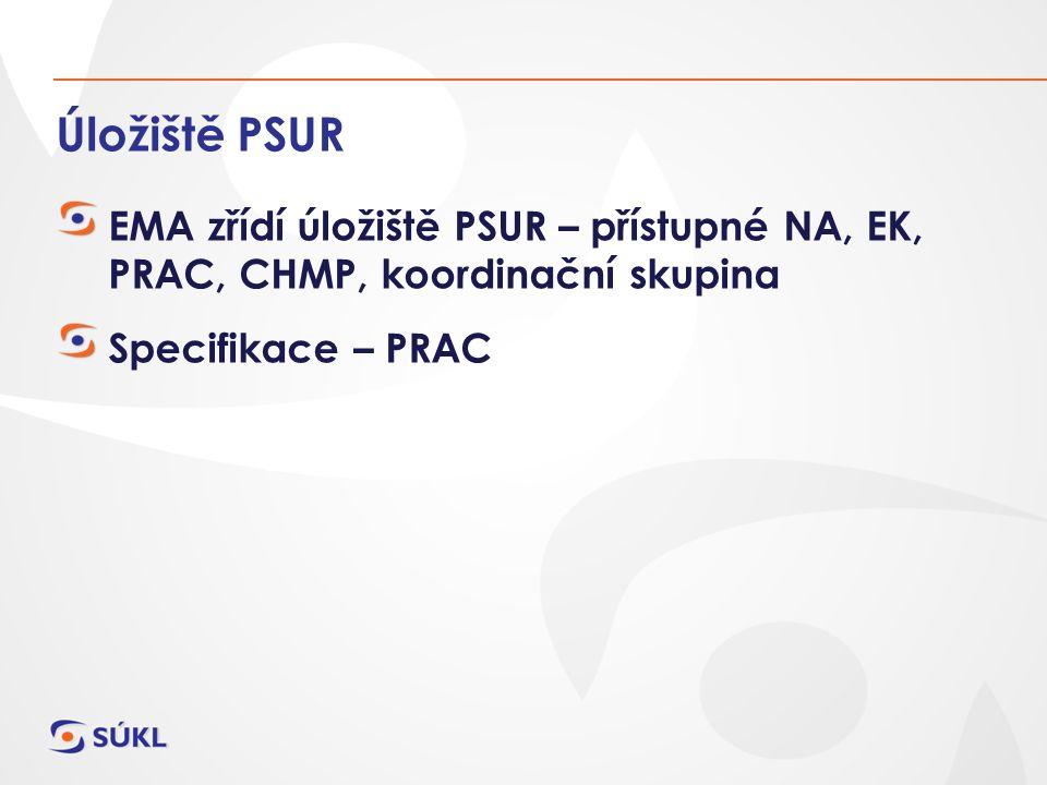 Úložiště PSUR EMA zřídí úložiště PSUR – přístupné NA, EK, PRAC, CHMP, koordinační skupina Specifikace – PRAC