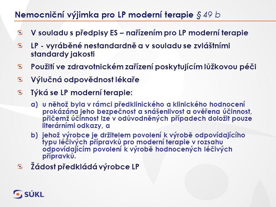 V souladu s předpisy ES – nařízením pro LP moderní terapie LP - vyráběné nestandardně a v souladu se zvláštními standardy jakosti Použití ve zdravotnickém zařízení poskytujícím lůžkovou péči Výlučná odpovědnost lékaře Týká se LP moderní terapie: a)u něhož byla v rámci předklinického a klinického hodnocení prokázána jeho bezpečnost a snášenlivost a ověřena účinnost, přičemž účinnost lze v odůvodněných případech doložit pouze literárními odkazy, a b)jehož výrobce je držitelem povolení k výrobě odpovídajícího typu léčivých přípravků pro moderní terapie v rozsahu odpovídajícím povolení k výrobě hodnocených léčivých přípravků.