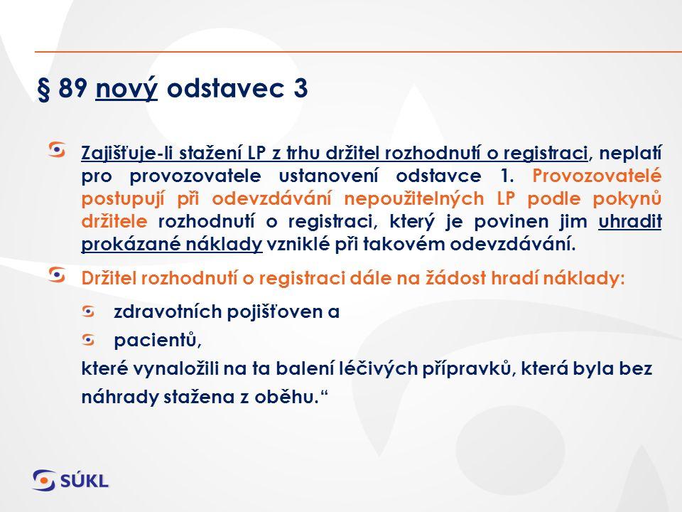 § 89 nový odstavec 3 Zajišťuje-li stažení LP z trhu držitel rozhodnutí o registraci, neplatí pro provozovatele ustanovení odstavce 1.