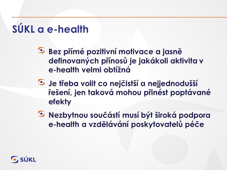 SÚKL a e-health Bez přímé pozitivní motivace a jasně definovaných přínosů je jakákoli aktivita v e-health velmi obtížná Je třeba volit co nejčistší a nejjednodušší řešení, jen taková mohou přinést poptávané efekty Nezbytnou součástí musí být široká podpora e-health a vzdělávání poskytovatelů péče