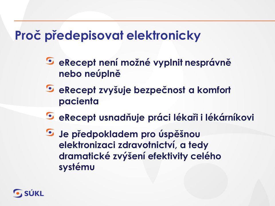 Proč předepisovat elektronicky eRecept není možné vyplnit nesprávně nebo neúplně eRecept zvyšuje bezpečnost a komfort pacienta eRecept usnadňuje práci lékaři i lékárníkovi Je předpokladem pro úspěšnou elektronizaci zdravotnictví, a tedy dramatické zvýšení efektivity celého systému
