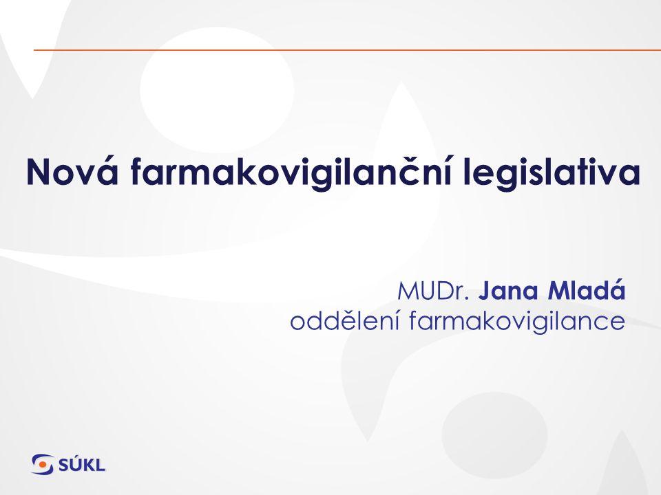 Nová farmakovigilanční legislativa MUDr. Jana Mladá oddělení farmakovigilance