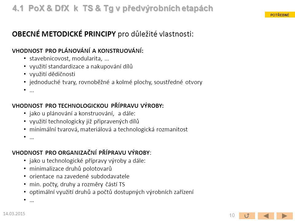 OBECNÉ METODICKÉ PRINCIPY pro důležité vlastnosti: VHODNOST PRO PLÁNOVÁNÍ A KONSTRUOVÁNÍ: stavebnicovost, modularita,...