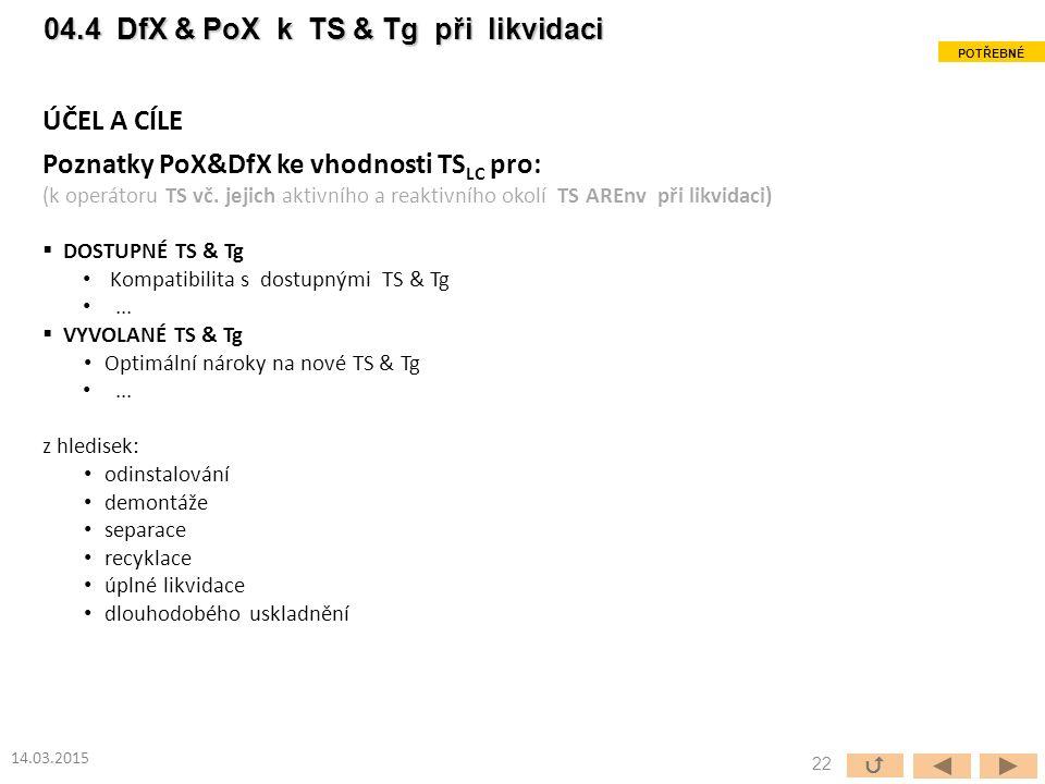 ÚČEL A CÍLE Poznatky PoX&DfX ke vhodnosti TS LC pro: (k operátoru TS vč.