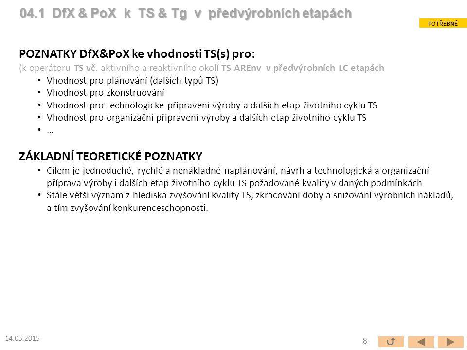 ÚČEL A CÍLE Poznatky PoX&DfX ke vhodnosti TS(s) pro: (k operátoru TS vč.