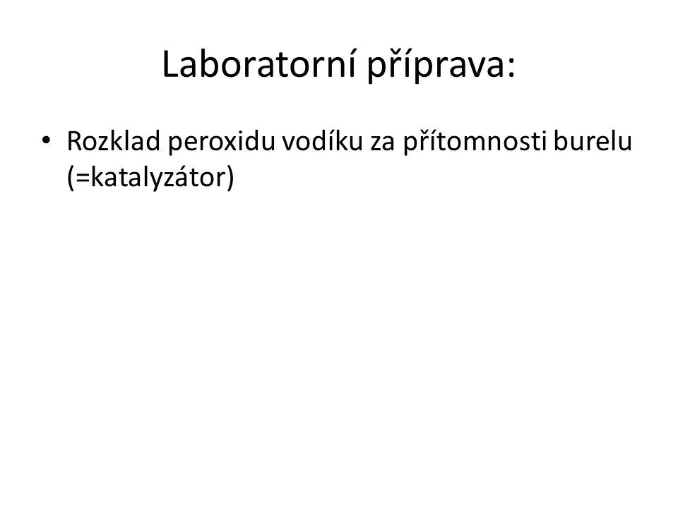 Laboratorní příprava: Rozklad peroxidu vodíku za přítomnosti burelu (=katalyzátor)