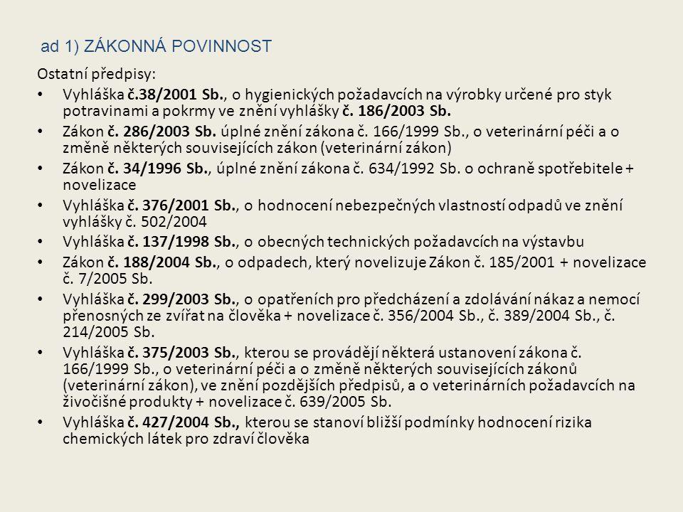 Ostatní předpisy: Vyhláška č.38/2001 Sb., o hygienických požadavcích na výrobky určené pro styk potravinami a pokrmy ve znění vyhlášky č.