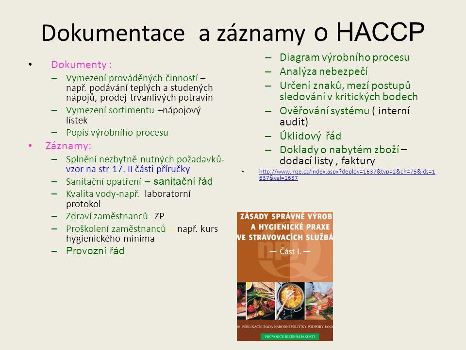 Dokumentace a záznamy o HACCP Dokumenty : – Vymezení prováděných činností – např.