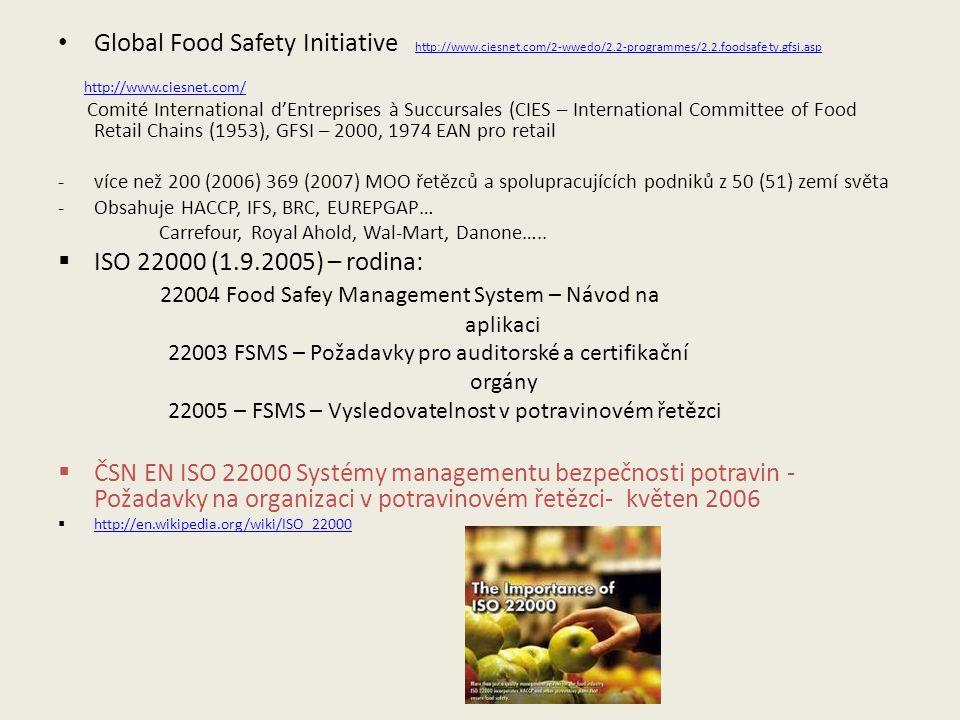 Global Food Safety Initiative http://www.ciesnet.com/2-wwedo/2.2-programmes/2.2.foodsafety.gfsi.asp http://www.ciesnet.com/2-wwedo/2.2-programmes/2.2.foodsafety.gfsi.asp http://www.ciesnet.com/ Comité International d'Entreprises à Succursales (CIES – International Committee of Food Retail Chains (1953), GFSI – 2000, 1974 EAN pro retail -více než 200 (2006) 369 (2007) MOO řetězců a spolupracujících podniků z 50 (51) zemí světa -Obsahuje HACCP, IFS, BRC, EUREPGAP… Carrefour, Royal Ahold, Wal-Mart, Danone…..