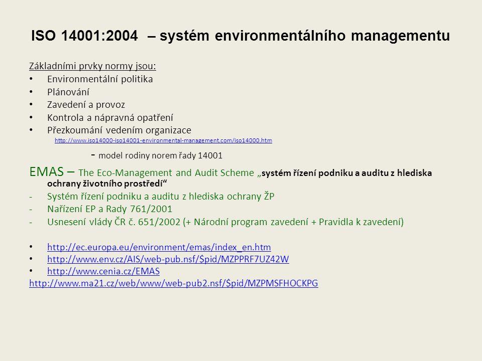 """ISO 14001:2004 – systém environmentálního managementu Základními prvky normy jsou: Environmentální politika Plánování Zavedení a provoz Kontrola a nápravná opatření Přezkoumání vedením organizace http://www.iso14000-iso14001-environmental-management.com/iso14000.htm - model rodiny norem řady 14001 EMAS – The Eco-Management and Audit Scheme """" systém řízení podniku a auditu z hlediska ochrany životního prostředí -Systém řízení podniku a auditu z hlediska ochrany ŽP -Nařízení EP a Rady 761/2001 -Usnesení vlády ČR č."""