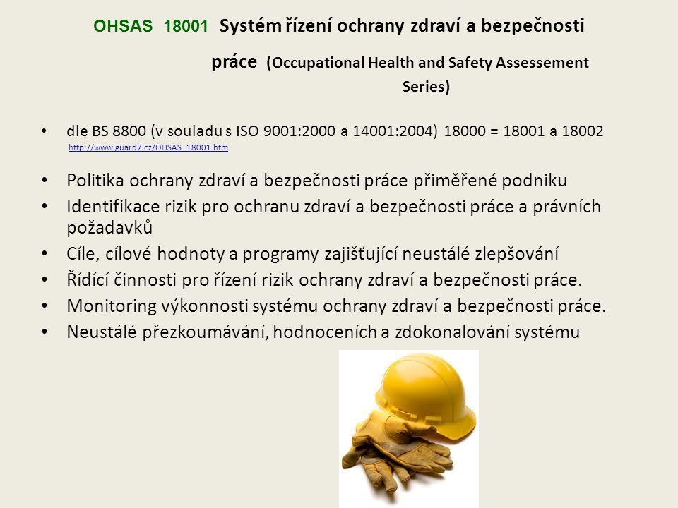 OHSAS 18001 Systém řízení ochrany zdraví a bezpečnosti práce (Occupational Health and Safety Assessement Series) dle BS 8800 (v souladu s ISO 9001:2000 a 14001:2004) 18000 = 18001 a 18002 http://www.guard7.cz/OHSAS_18001.htm Politika ochrany zdraví a bezpečnosti práce přiměřené podniku Identifikace rizik pro ochranu zdraví a bezpečnosti práce a právních požadavků Cíle, cílové hodnoty a programy zajišťující neustálé zlepšování Řídící činnosti pro řízení rizik ochrany zdraví a bezpečnosti práce.