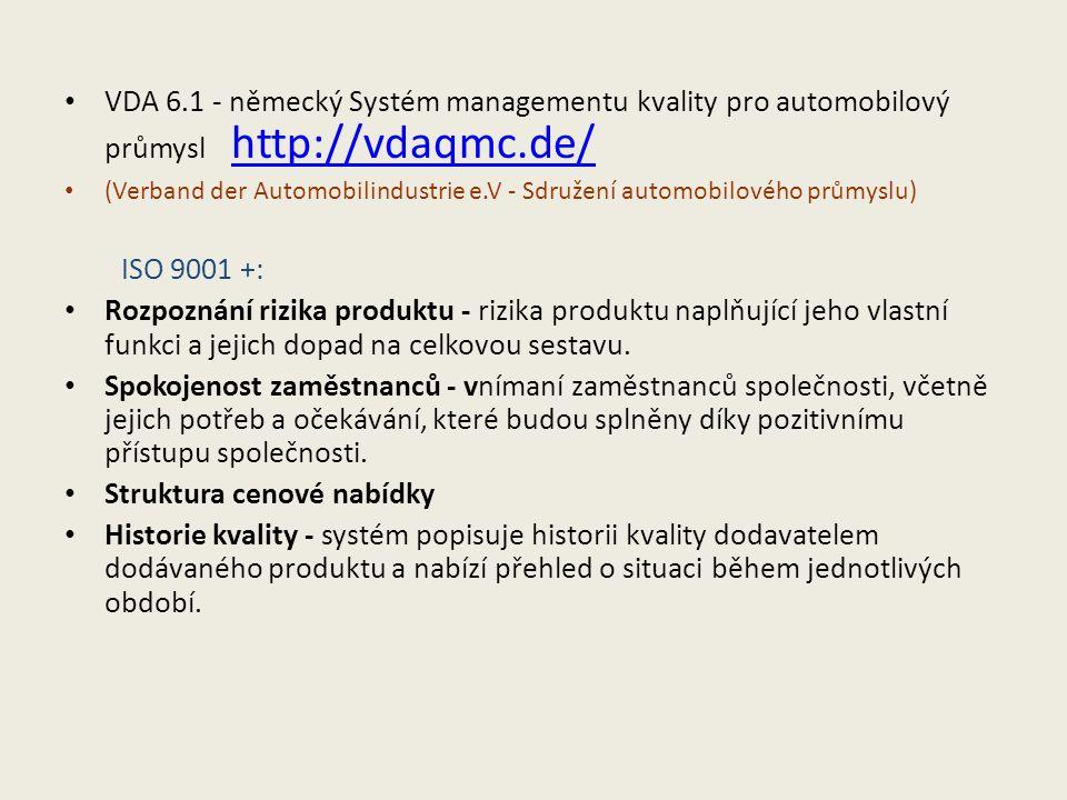 VDA 6.1 - německý Systém managementu kvality pro automobilový průmysl http://vdaqmc.de/ http://vdaqmc.de/ (Verband der Automobilindustrie e.V - Sdružení automobilového průmyslu) ISO 9001 +: Rozpoznání rizika produktu - rizika produktu naplňující jeho vlastní funkci a jejich dopad na celkovou sestavu.