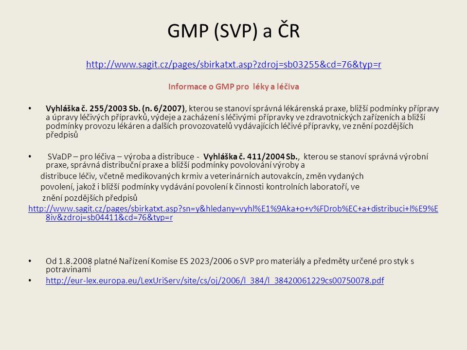 GMP (SVP) a ČR http://www.sagit.cz/pages/sbirkatxt.asp zdroj=sb03255&cd=76&typ=r Informace o GMP pro léky a léčiva Vyhláška č.