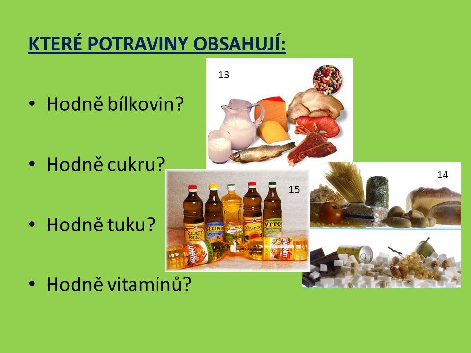 KTERÉ POTRAVINY OBSAHUJÍ: Hodně bílkovin Hodně cukru Hodně tuku Hodně vitamínů 13 14 15