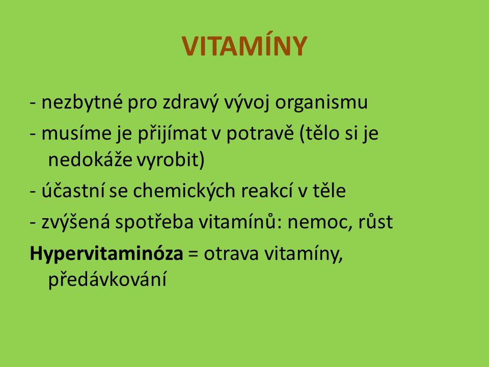 VITAMÍNY - nezbytné pro zdravý vývoj organismu - musíme je přijímat v potravě (tělo si je nedokáže vyrobit) - účastní se chemických reakcí v těle - zvýšená spotřeba vitamínů: nemoc, růst Hypervitaminóza = otrava vitamíny, předávkování