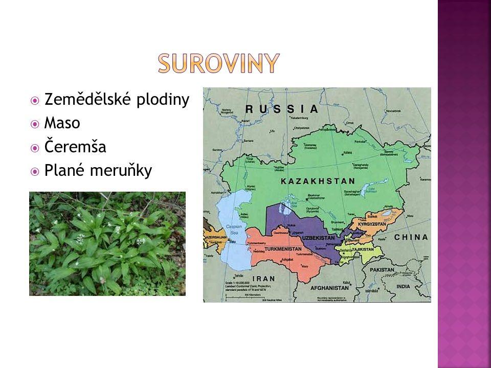  Zemědělské plodiny  Maso  Čeremša  Plané meruňky