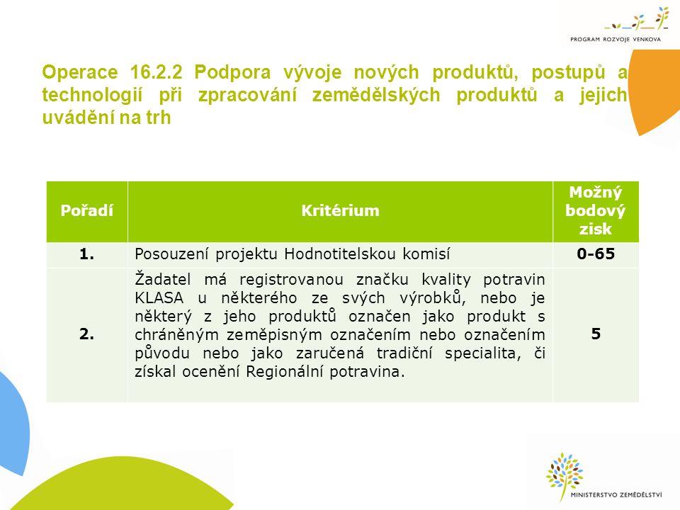 Operace 16.2.2 Podpora vývoje nových produktů, postupů a technologií při zpracování zemědělských produktů a jejich uvádění na trh PořadíKritérium Možn