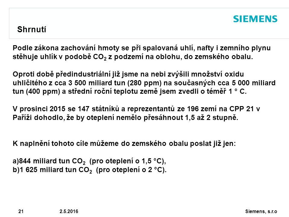 Siemens, s.r.o © Siemens AG 2010 21 2.5.2016 Shrnutí Podle zákona zachování hmoty se při spalovaná uhlí, nafty i zemního plynu stěhuje uhlík v podobě CO 2 z podzemí na oblohu, do zemského obalu.