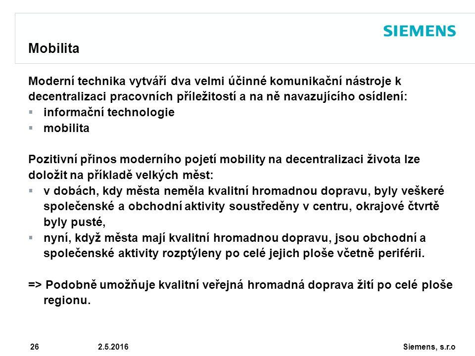 Siemens, s.r.o © Siemens AG 2010 26 2.5.2016 Mobilita Moderní technika vytváří dva velmi účinné komunikační nástroje k decentralizaci pracovních příležitostí a na ně navazujícího osídlení:  informační technologie  mobilita Pozitivní přinos moderního pojetí mobility na decentralizaci života lze doložit na příkladě velkých měst:  v dobách, kdy města neměla kvalitní hromadnou dopravu, byly veškeré společenské a obchodní aktivity soustředěny v centru, okrajové čtvrtě byly pusté,  nyní, když města mají kvalitní hromadnou dopravu, jsou obchodní a společenské aktivity rozptýleny po celé jejich ploše včetně periférii.
