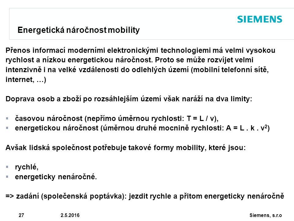 Siemens, s.r.o © Siemens AG 2010 27 2.5.2016 Energetická náročnost mobility Přenos informací moderními elektronickými technologiemi má velmi vysokou rychlost a nízkou energetickou náročnost.