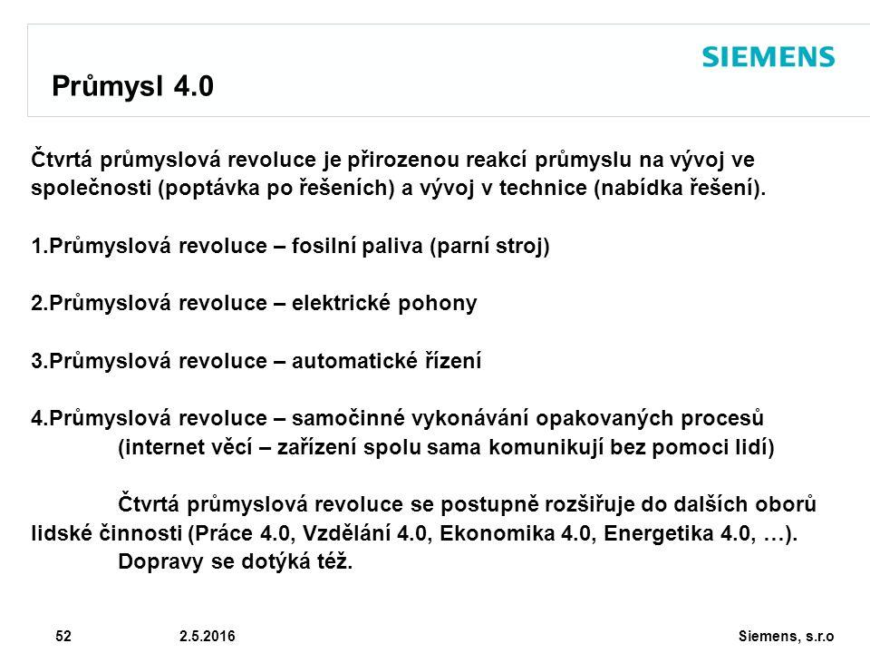 Siemens, s.r.o © Siemens AG 2010 52 2.5.2016 Průmysl 4.0 Čtvrtá průmyslová revoluce je přirozenou reakcí průmyslu na vývoj ve společnosti (poptávka po řešeních) a vývoj v technice (nabídka řešení).