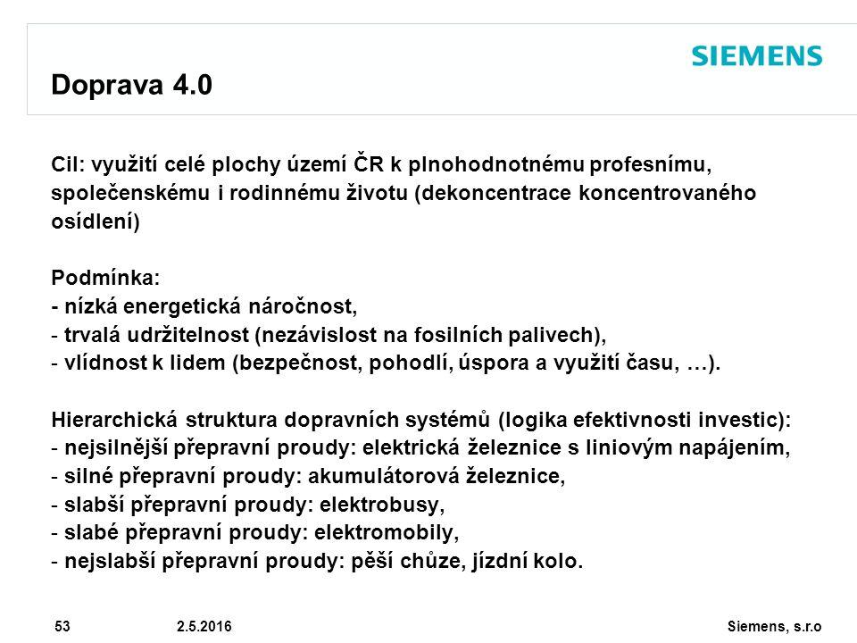 Siemens, s.r.o © Siemens AG 2010 53 2.5.2016 Doprava 4.0 Cil: využití celé plochy území ČR k plnohodnotnému profesnímu, společenskému i rodinnému životu (dekoncentrace koncentrovaného osídlení) Podmínka: - nízká energetická náročnost, - trvalá udržitelnost (nezávislost na fosilních palivech), - vlídnost k lidem (bezpečnost, pohodlí, úspora a využití času, …).