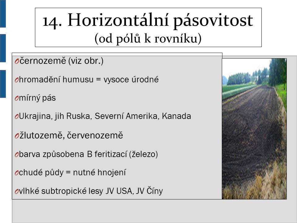 14. Horizontální pásovitost (od pólů k rovníku) O černozemě (viz obr.) O hromadění humusu = vysoce úrodné O mírný pás O Ukrajina, jih Ruska, Severní A