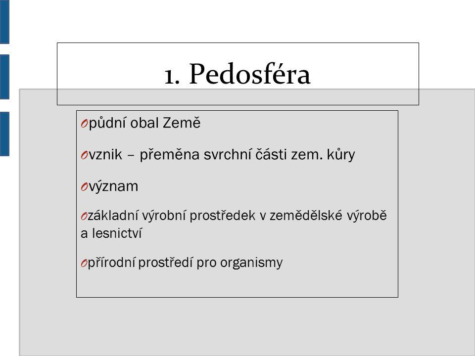 1. Pedosféra O půdní obal Země O vznik – přeměna svrchní části zem.