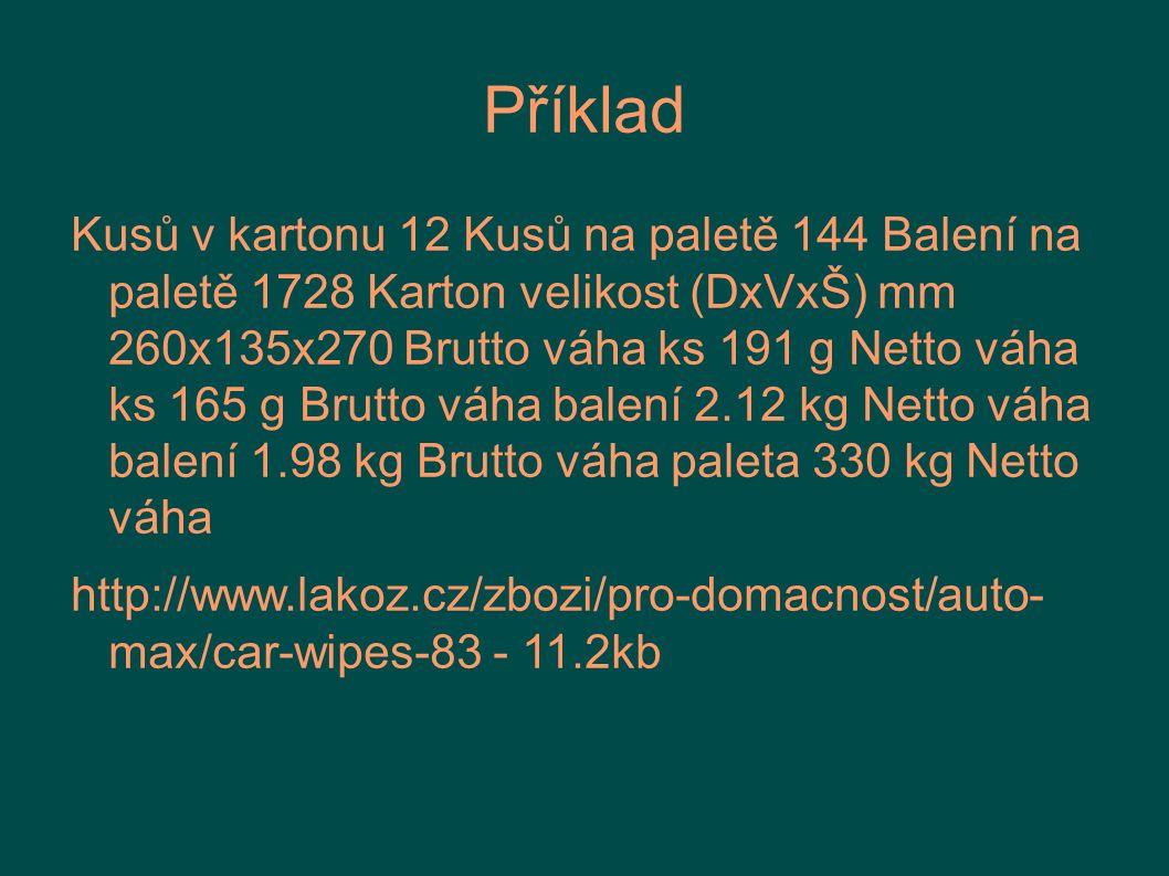 Příklad Kusů v kartonu 12 Kusů na paletě 144 Balení na paletě 1728 Karton velikost (DxVxŠ) mm 260x135x270 Brutto váha ks 191 g Netto váha ks 165 g Bru