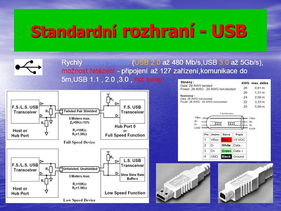 Standardní rozhraní - USB Standardní rozhraní - USB Rychlý sériový přenos (USB 2.0 až 480 Mb/s,USB 3.0 až 5Gb/s), možnost řetězení - připojení až 127 zařízení,komunikace do 5m,USB 1.1, 2.0,3.0, hot swap