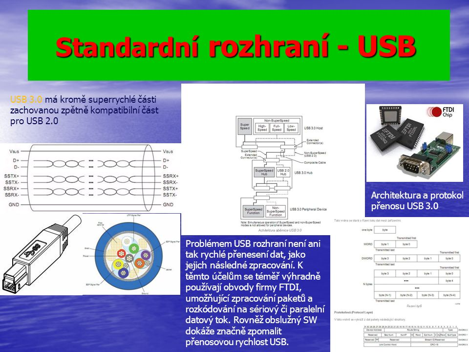 Standardní rozhraní - USB Standardní rozhraní - USB USB 3.0 má kromě superrychlé části zachovanou zpětně kompatibilní část pro USB 2.0 Problémem USB rozhraní není ani tak rychlé přenesení dat, jako jejich následné zpracování.