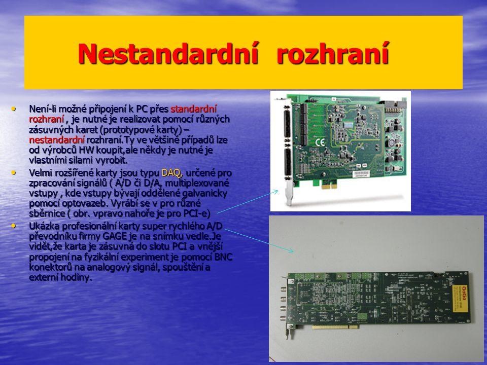 Nestandardní rozhraní Nestandardní rozhraní Není-li možné připojení k PC přes standardní rozhraní, je nutné je realizovat pomocí různých zásuvných karet (prototypové karty) – nestandardní rozhraní.Ty ve většině případů lze od výrobců HW koupit,ale někdy je nutné je vlastními silami vyrobit.