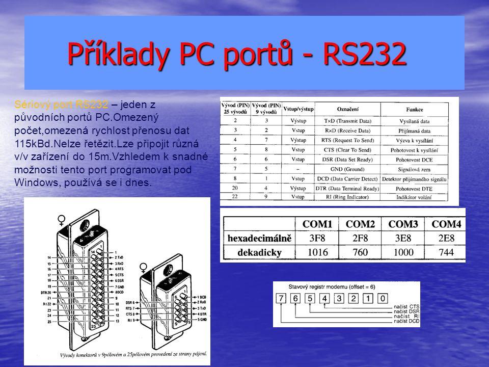 Příklady PC portů - RS232 Příklady PC portů - RS232 Sériový port RS232 – jeden z původních portů PC.Omezený počet,omezená rychlost přenosu dat 115kBd.Nelze řetězit.Lze připojit různá v/v zařízení do 15m.Vzhledem k snadné možnosti tento port programovat pod Windows, používá se i dnes.