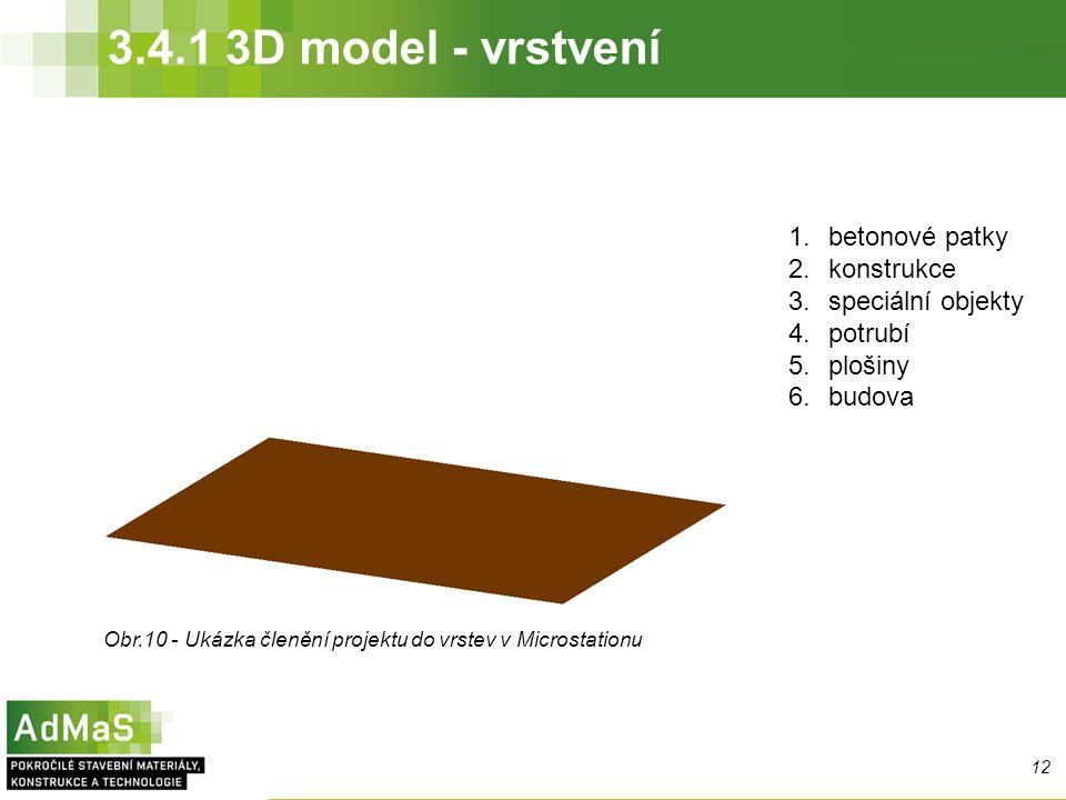 3.4.1 3D model - vrstvení 1.betonové patky 2.konstrukce 3.speciální objekty 4.potrubí 5.plošiny 6.budova Obr.10 - Ukázka členění projektu do vrstev v Microstationu 12