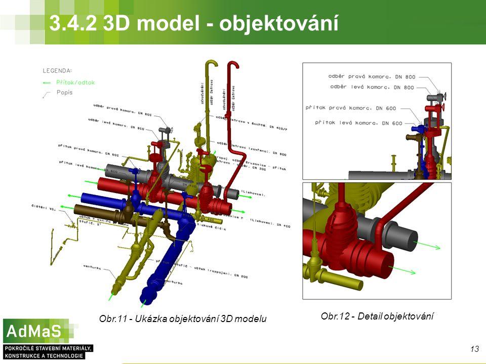 3.4.2 3D model - objektování 13 Obr.11 - Ukázka objektování 3D modelu Obr.12 - Detail objektování