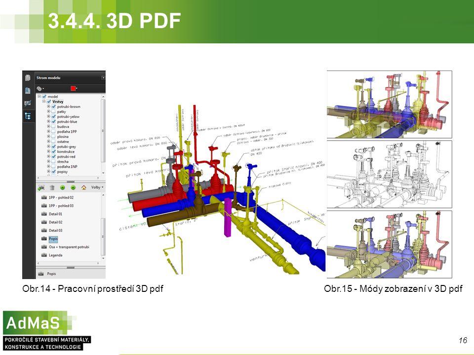 3.4.4. 3D PDF Obr.14 - Pracovní prostředí 3D pdf 16 Obr.15 - Módy zobrazení v 3D pdf
