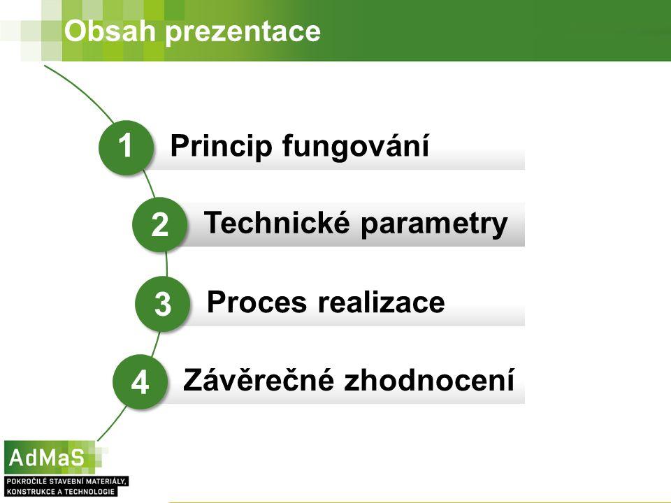 Obsah prezentace Princip fungování Technické parametry Proces realizace 1 2 3 Závěrečné zhodnocení 4