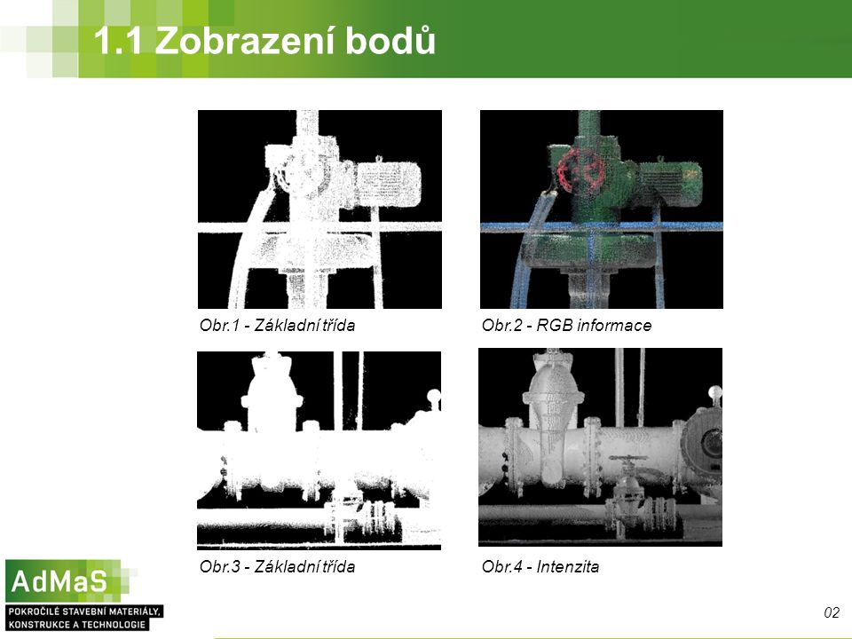 Obr.1 - Základní třídaObr.2 - RGB informace Obr.3 - Základní třídaObr.4 - Intenzita 02 1.1 Zobrazení bodů