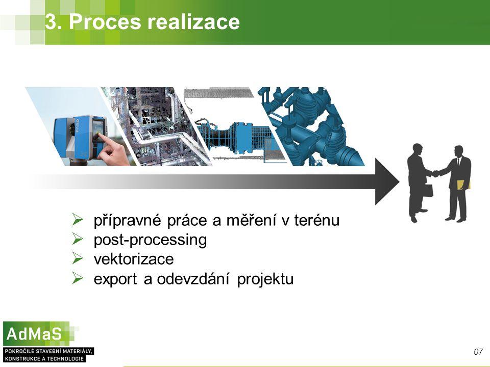 3. Proces realizace  přípravné práce a měření v terénu  post-processing  vektorizace  export a odevzdání projektu 07