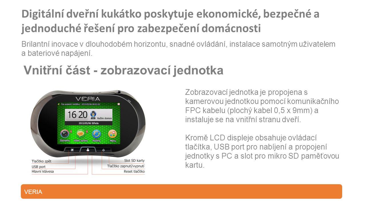 Digitální dveřní kukátko poskytuje ekonomické, bezpečné a jednoduché řešení pro zabezpečení domácnosti Brilantní inovace v dlouhodobém horizontu, snadné ovládání, instalace samotným uživatelem a bateriové napájení.