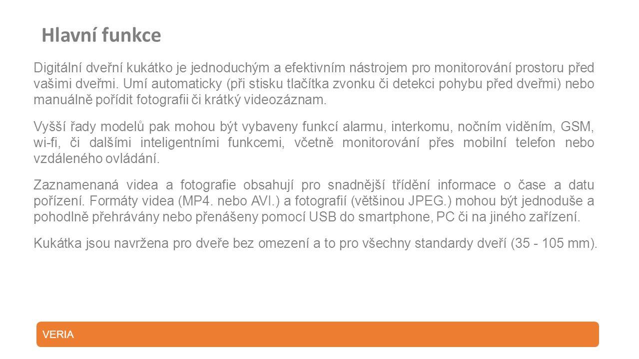 Model: DDK 5084 CZ Ekonomické řešení napájení bez dalších nákladů na pořizování nových a nových baterií SPECIFIKACE OBSAH BALENÍ Digitální dveřní kukátko 1* Vnitřní část zařízení s displejem1* Nabíjecí pouzdro 1* Vnější část zařízení s kamerou v anti-vandal provedení1* Adaptér 1* Držák: K upevnění vnější části zařízení ke dveřím1* USB kabel 4* Montážní šroubky (dva páry 35 a 65 mm)1* Napájecí akumulátor 1500 mAh 1* Uživatelský manuál Displej2.8 TFT SenzorCMOS senzor 0.3 mega pixel Zorný úhel Formát souborůJPEG, AVI UkládáníMicro SD karta, do 32GB Napájení 3,7 VLithiový akumulátor 1500 mAh Otvor ve dveřích12 – 58 mm Tloušťka dveří35 – 110 mm IR noční viděníPodporováno