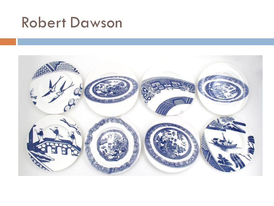 Keramika After Willow  2004  Robert Dawson  Hold vzoru tradičního anglického porcelánu  Modré vzory na bílém podkladě, orientální motivy s ptáčky, lávkami, pagodami na ostrovech