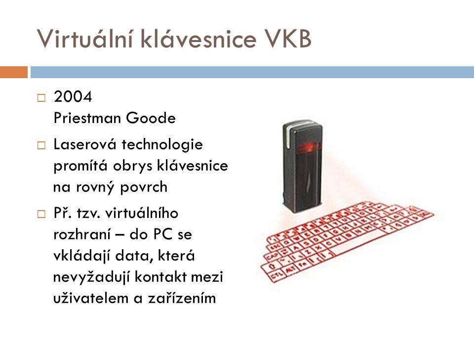 Virtuální klávesnice VKB  2004 Priestman Goode  Laserová technologie promítá obrys klávesnice na rovný povrch  Př.