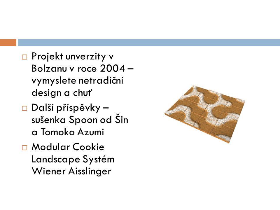  Projekt unverzity v Bolzanu v roce 2004 – vymyslete netradiční design a chuť  Další příspěvky – sušenka Spoon od Šin a Tomoko Azumi  Modular Cookie Landscape Systém Wiener Aisslinger