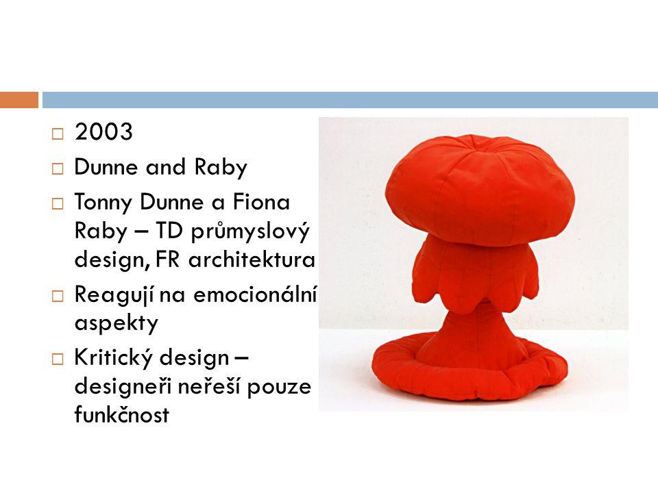  2003  Dunne and Raby  Tonny Dunne a Fiona Raby – TD průmyslový design, FR architektura  Reagují na emocionální aspekty  Kritický design – designeři neřeší pouze funkčnost