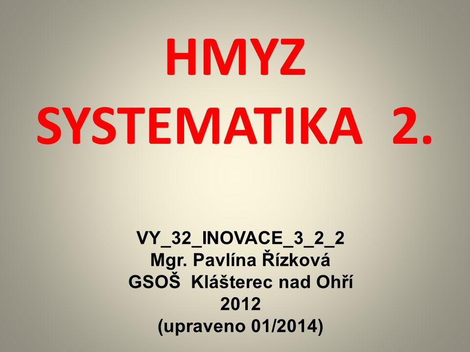 HMYZ SYSTEMATIKA 2. VY_32_INOVACE_3_2_2 Mgr.