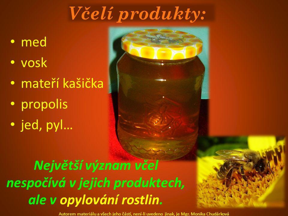 Včelí produkty: med vosk mateří kašička propolis jed, pyl… Autorem materiálu a všech jeho částí, není-li uvedeno jinak, je Mgr. Monika Chudárková Nejv