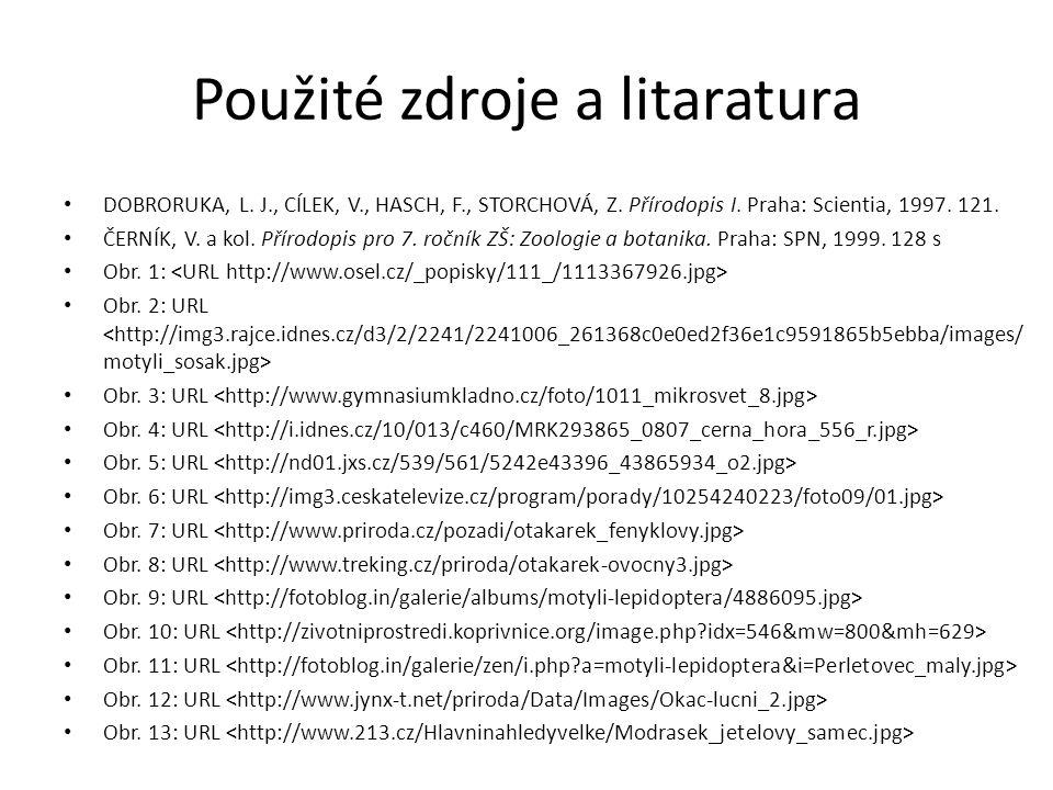 Použité zdroje a litaratura DOBRORUKA, L. J., CÍLEK, V., HASCH, F., STORCHOVÁ, Z. Přírodopis I. Praha: Scientia, 1997. 121. ČERNÍK, V. a kol. Přírodop