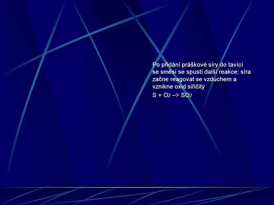 Po přidání práškové síry do tavící se směsi se spustí další reakce: síra začne reagovat se vzduchem a vznikne oxid siřičitý S + O 2 –> SO 2