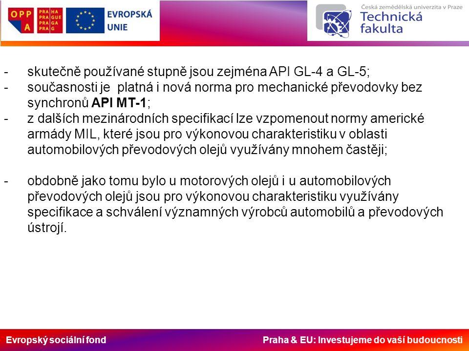 Evropský sociální fond Praha & EU: Investujeme do vaší budoucnosti -skutečně používané stupně jsou zejména API GL-4 a GL-5; -současnosti je platná i n